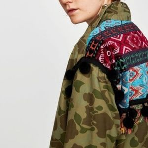 ZARA Camo Tribal Embelished Pompom Jacket, M